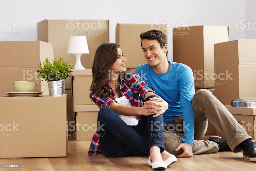 Couple moving in house royalty-free stock photo
