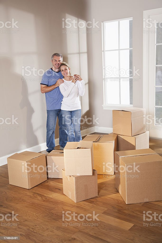 Couple moving into new home royalty-free stock photo