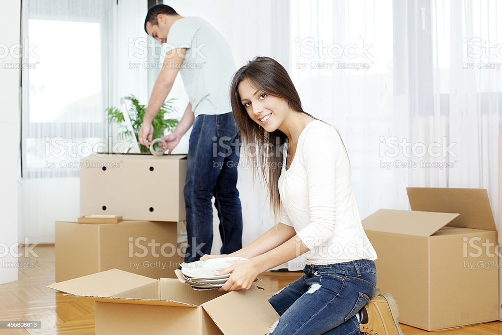 Couple Moving to new house royalty-free stock photo