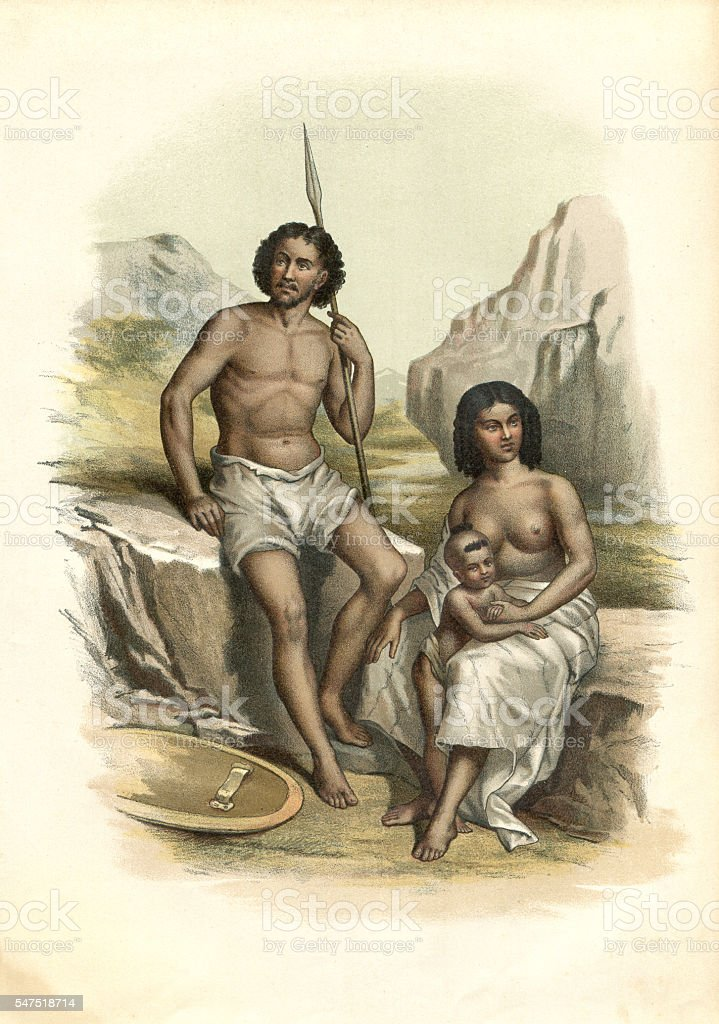 Couple of Abyssinian at Horn of Africa 1880 stock photo