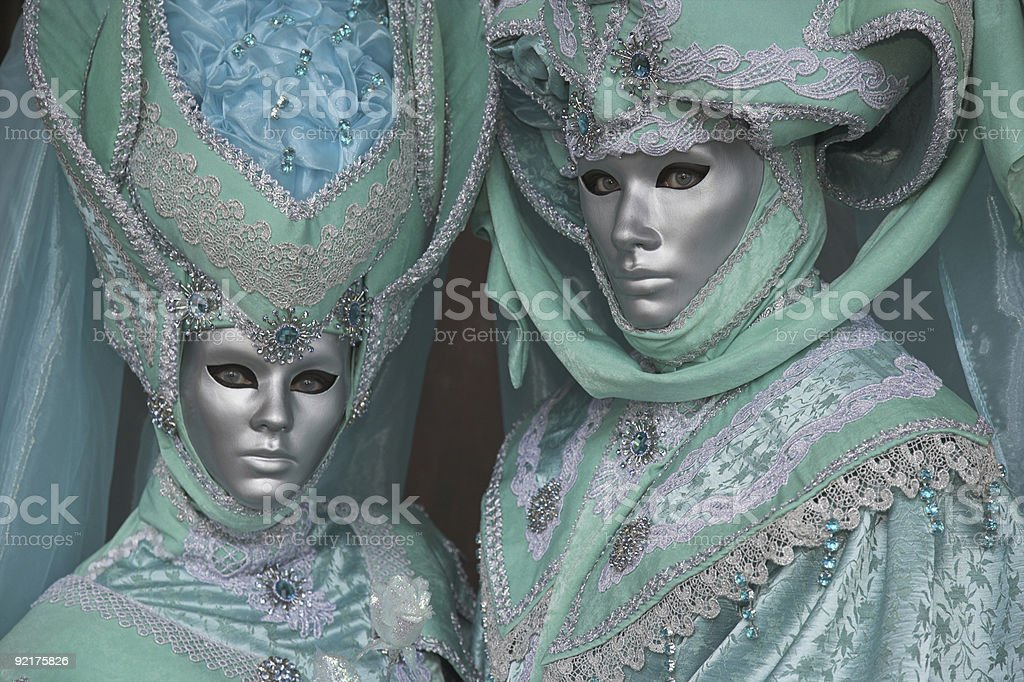 Couple of beautiful masks at carnival in Venice(XXL) royalty-free stock photo