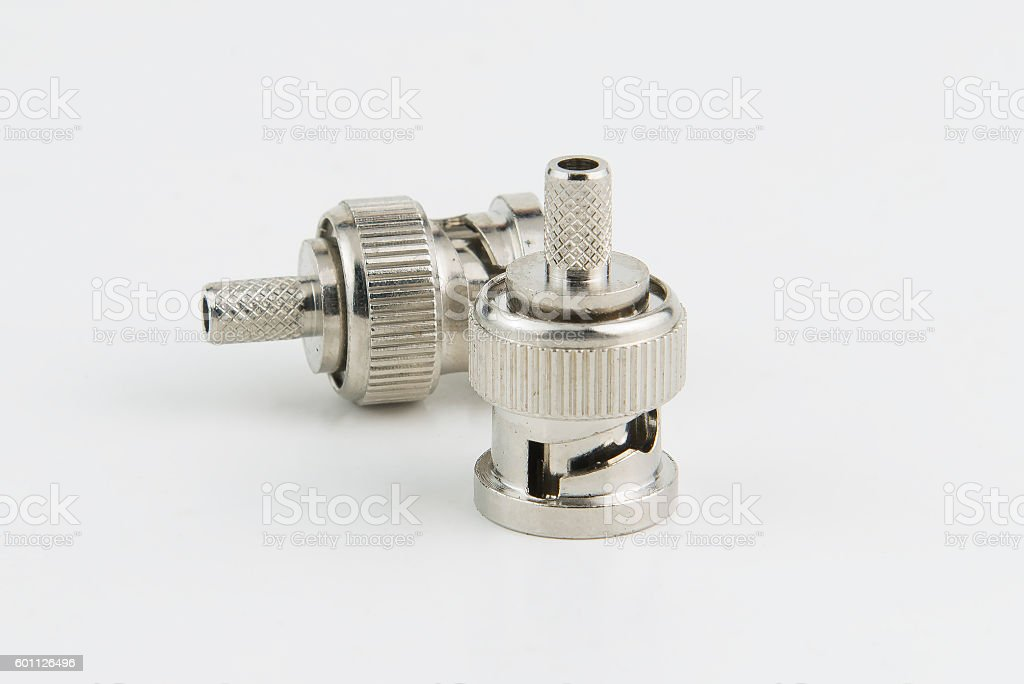 Couple of BNC connectors. Isolated, close-up stock photo