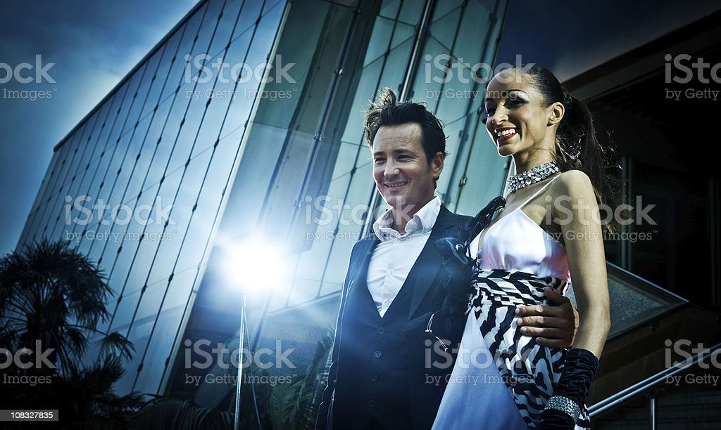 couple of celebrities in the red carpet royalty-free stock photo