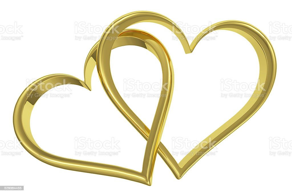 Couple of chained golden hearts front view stock photo