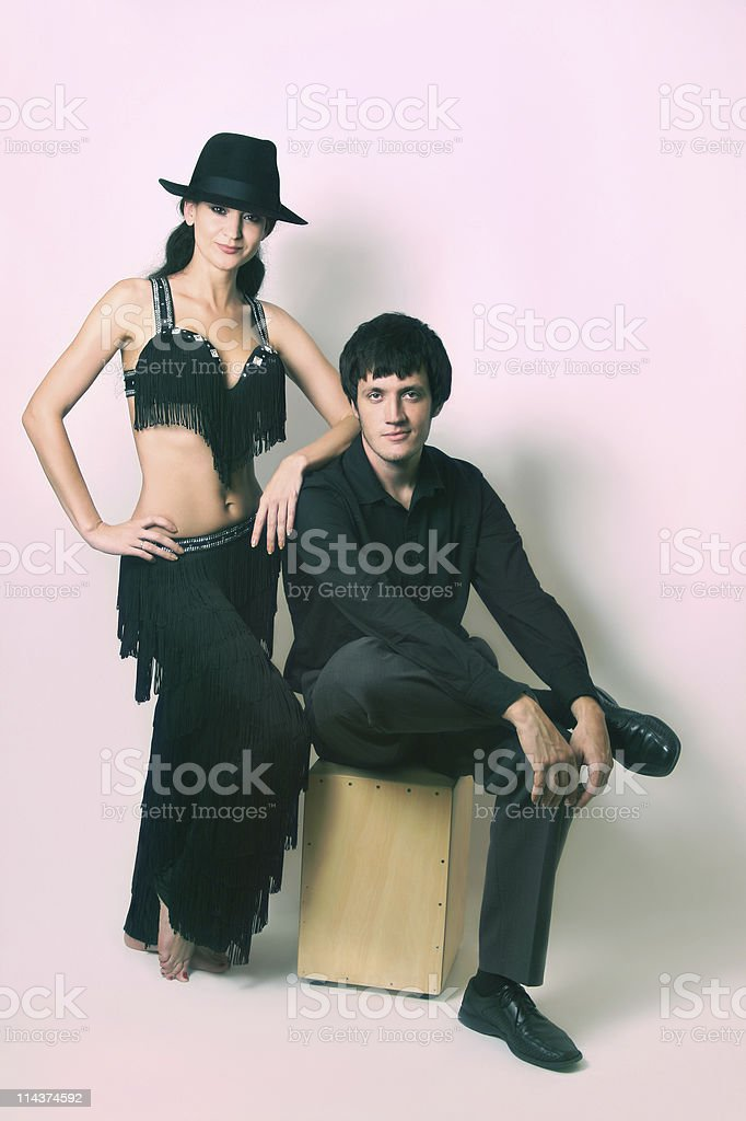 Couple of dancers in black costume stock photo