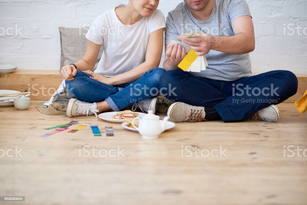 Couple of decorators stock photo