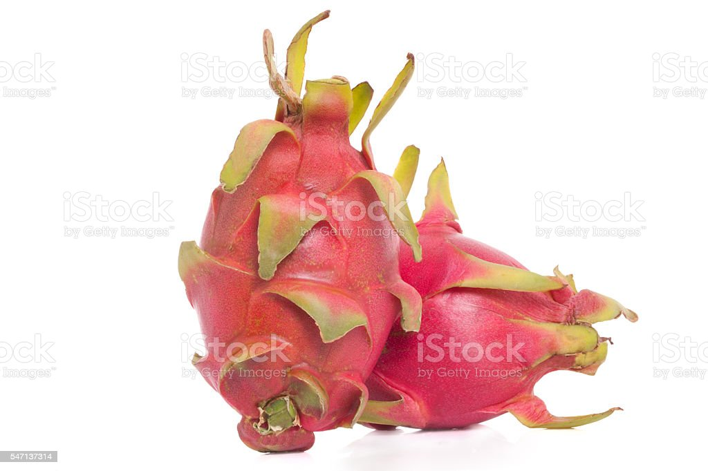Couple of dragon fruits on a white background stock photo