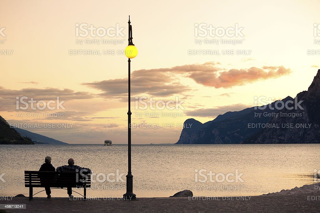 Couple of Elderly People on Vacation By the Lake royalty-free stock photo