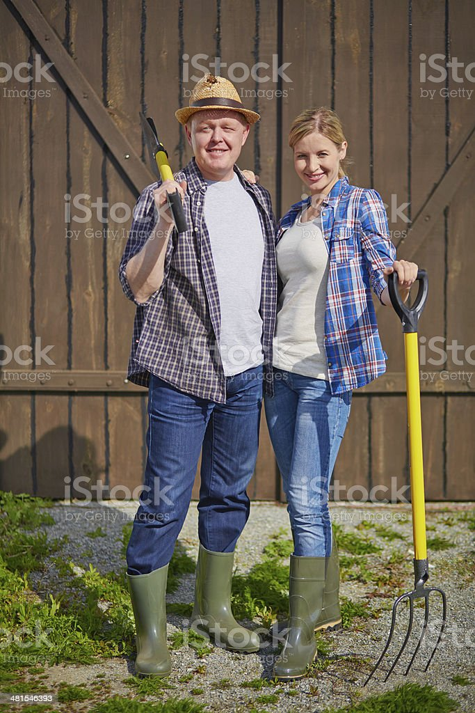 Couple of farmers stock photo
