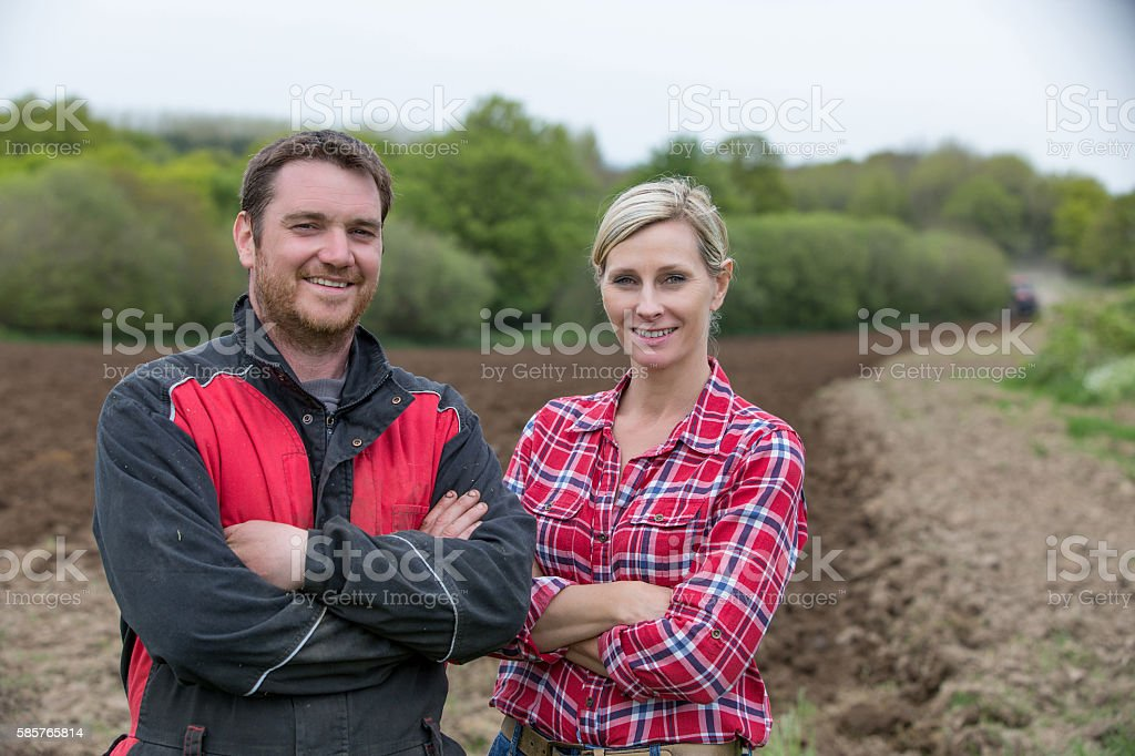 couple of farmers stock photo