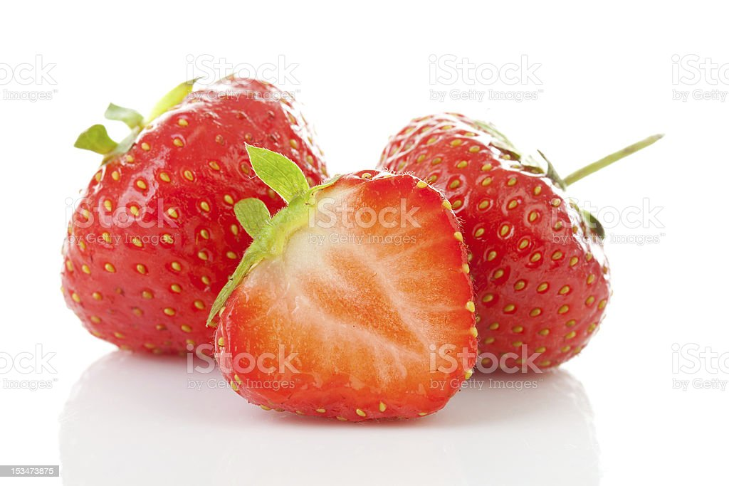 Couple of fresh strawberries in closeup stock photo