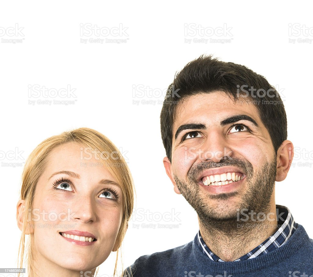 Couple of friends looking up royalty-free stock photo