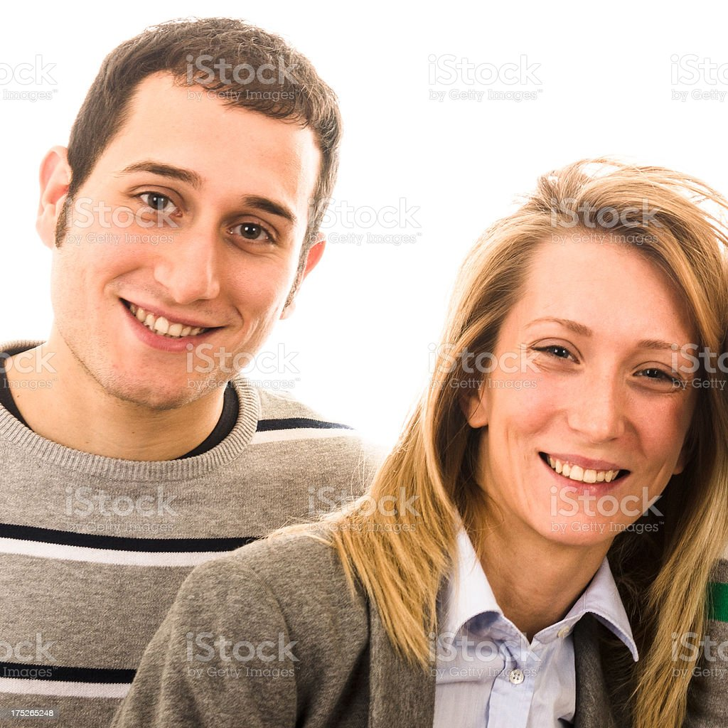 Couple of friends smiling stock photo