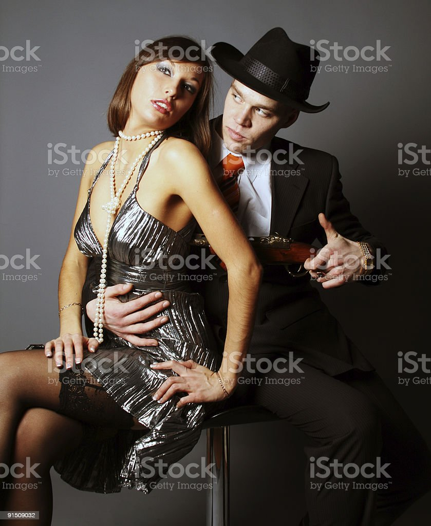 Couple of gangsters royalty-free stock photo