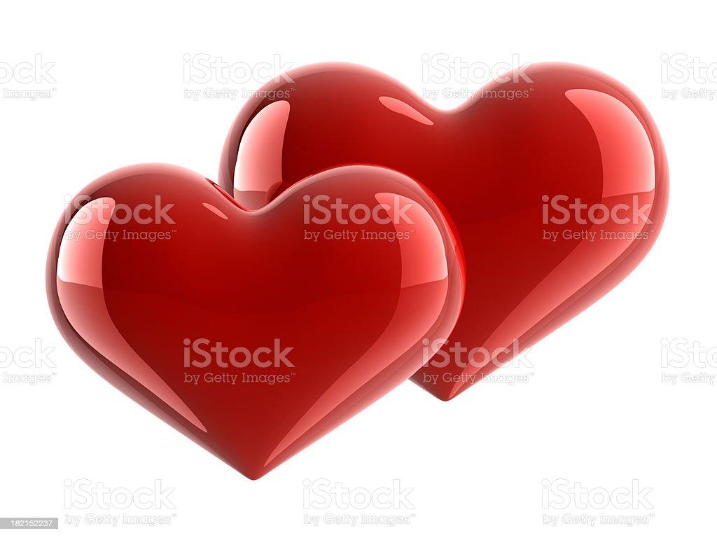 Couple Of Glossy Hearts royalty-free stock photo