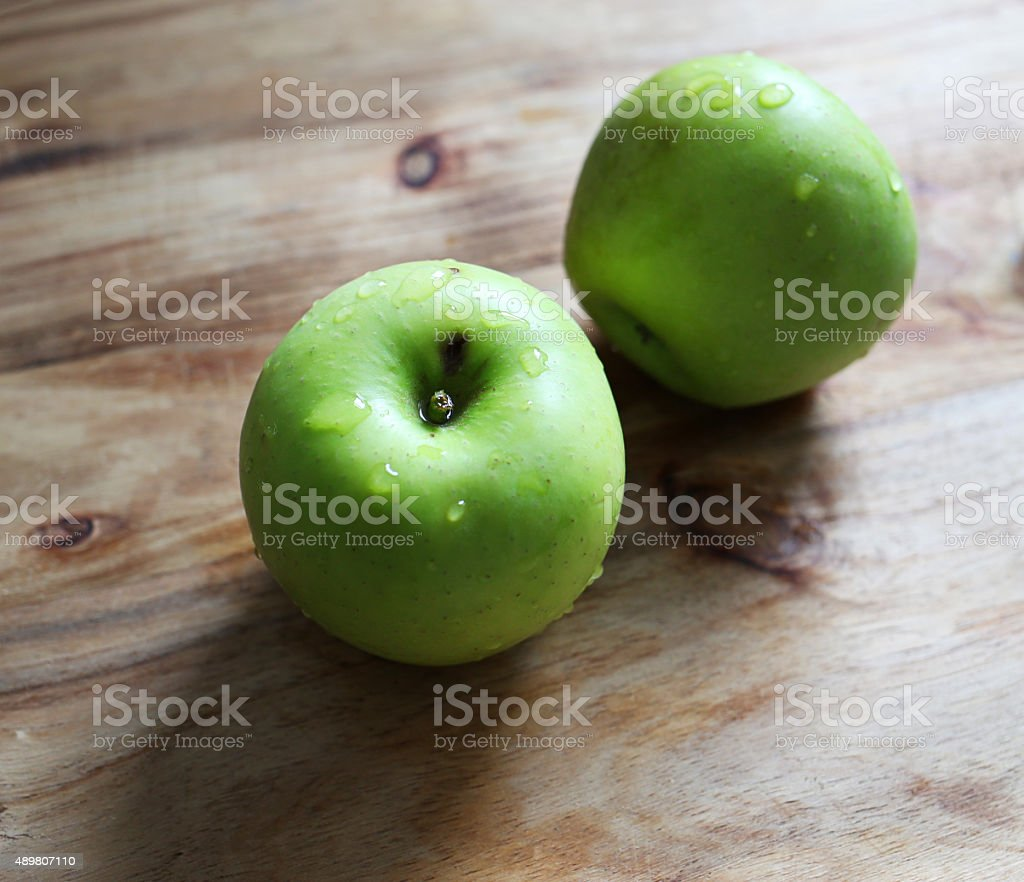 Couple of green apples stock photo