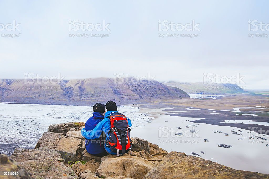 couple of hikers traveling in Iceland stock photo