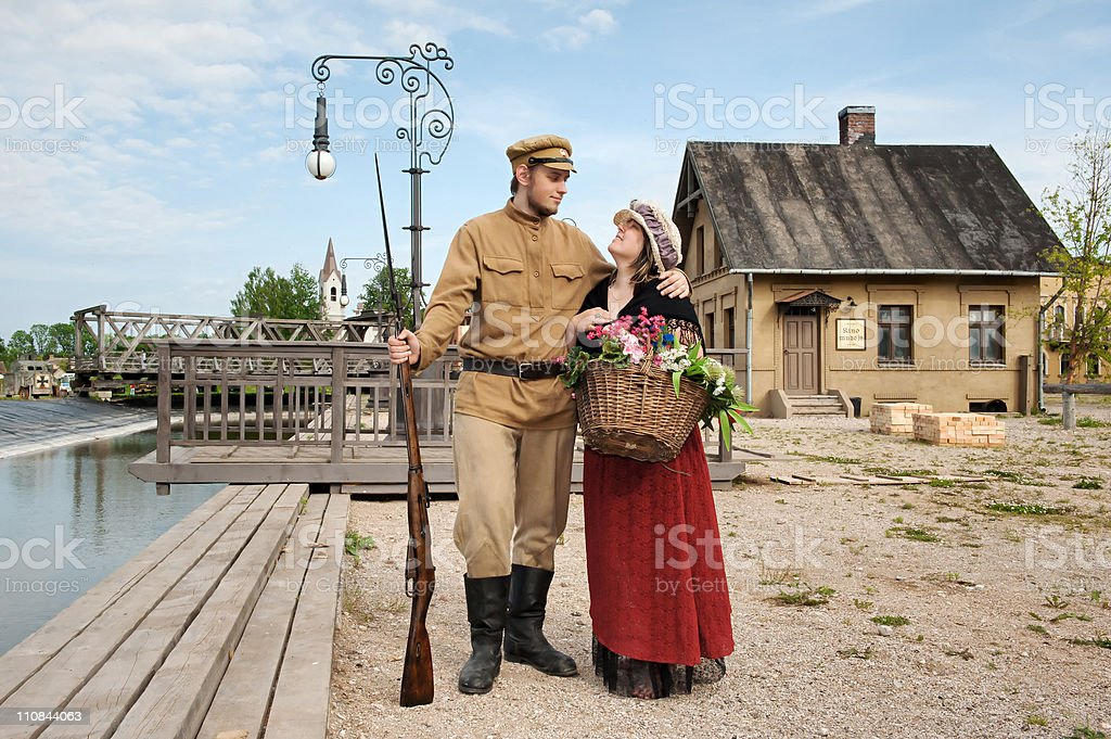 Couple of lady and soldier in retro style picture royalty-free stock photo