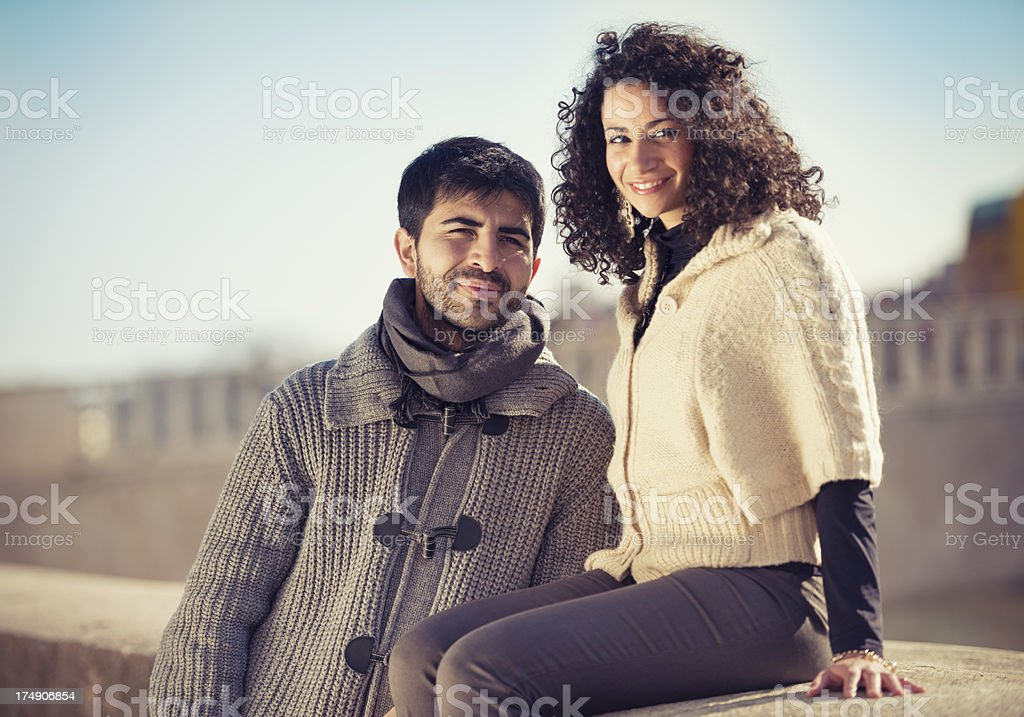 couple of lover enbracing in the street on st. valentine royalty-free stock photo