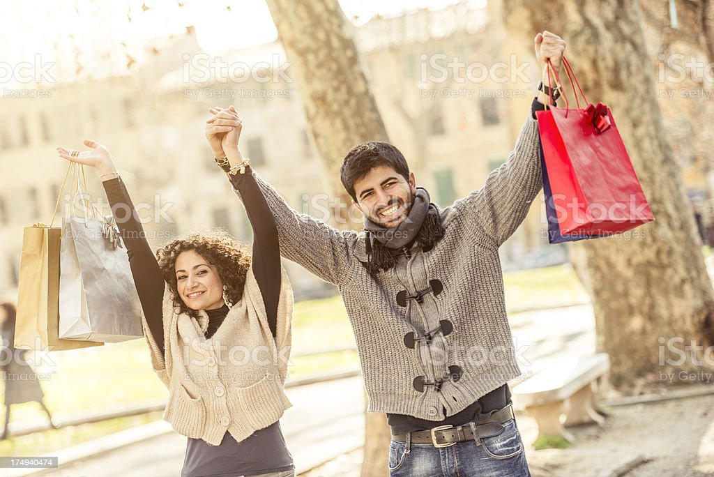 couple of lover happy togetherness with shopping bag stock photo