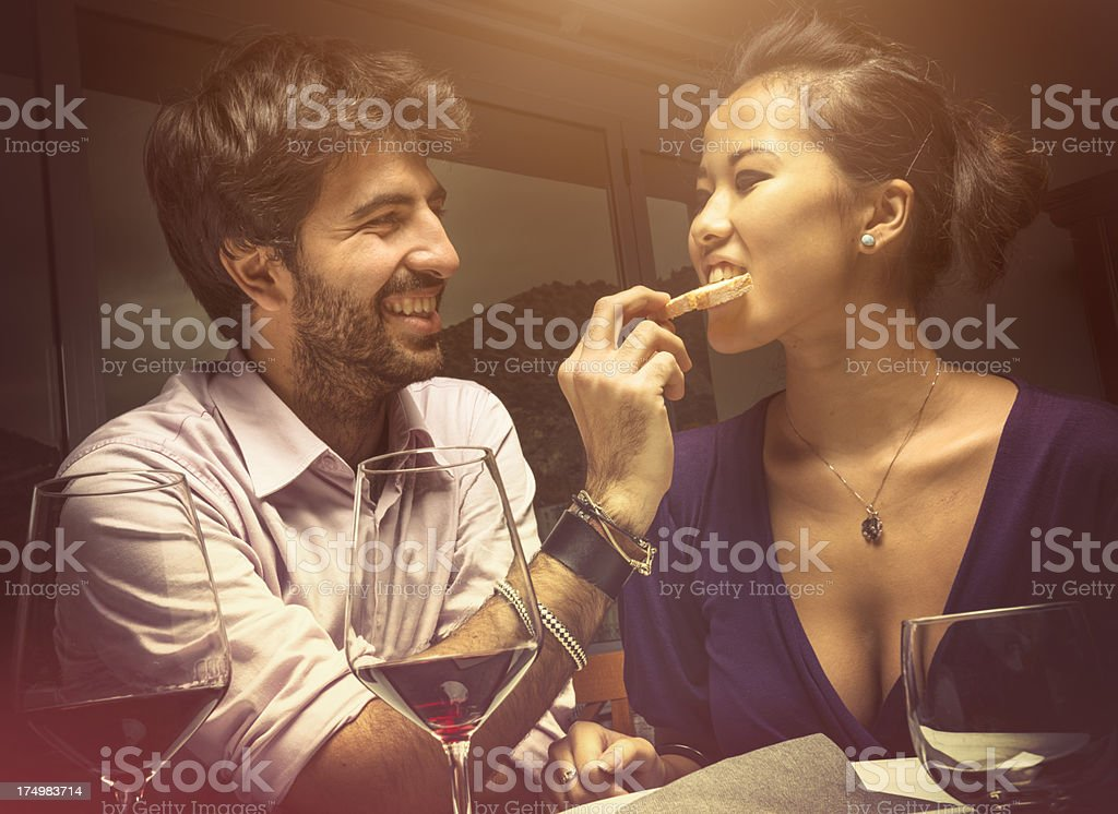 Couple of lovers at the restaurant royalty-free stock photo
