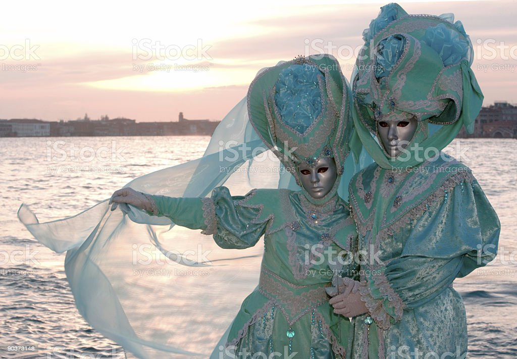 Couple of masks at Grand Canal (XL) royalty-free stock photo