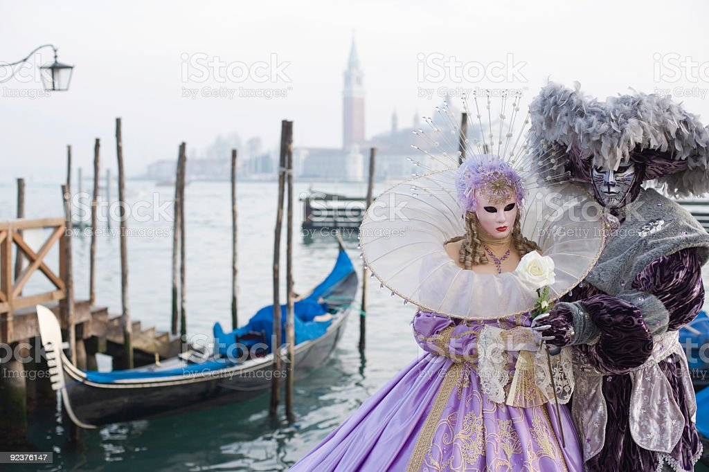 Couple of Masks - Beauty and beast in Venice (XXL) stock photo