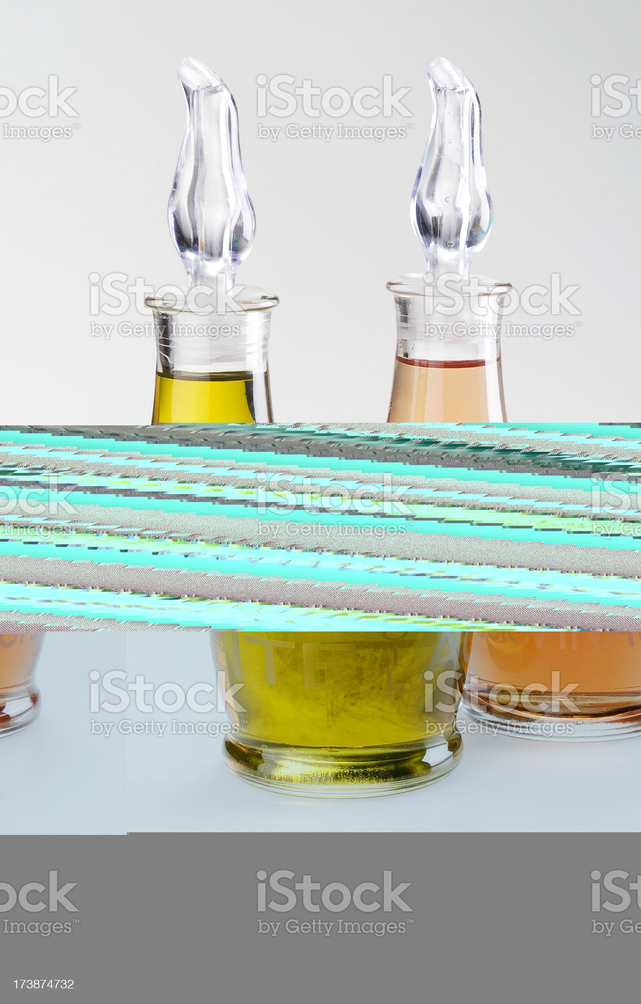 Couple of olive oil and vinegar bottles royalty-free stock photo