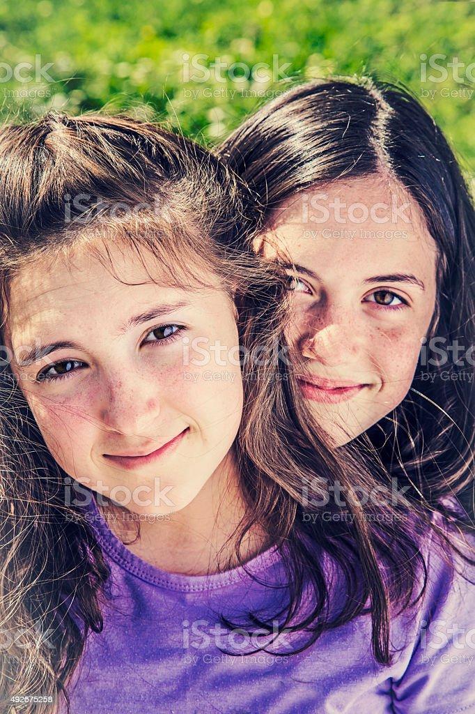Couple of pretty teenage girls royalty-free stock photo