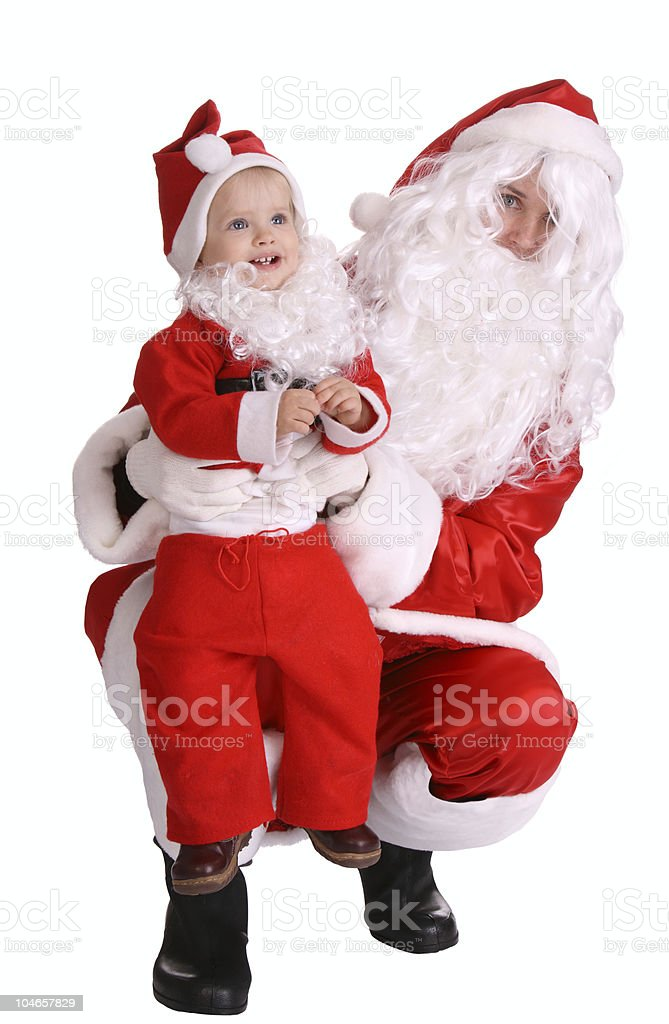 Couple of santa clause wait christmas. royalty-free stock photo