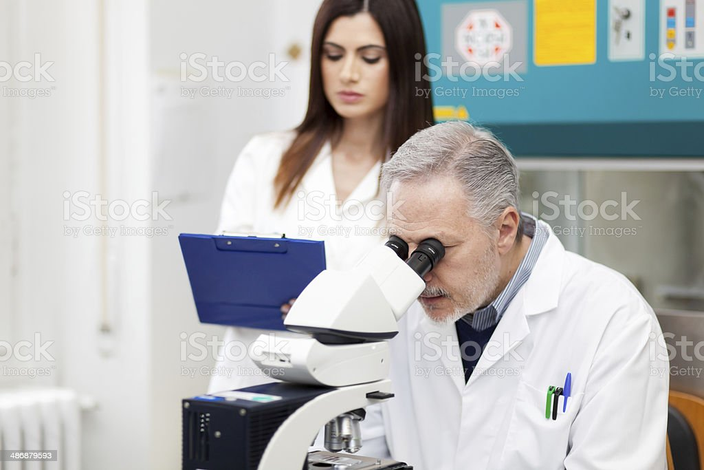 Couple of scientist researching in a laboratory royalty-free stock photo