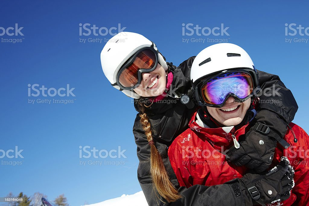 Couple of snowboarders royalty-free stock photo
