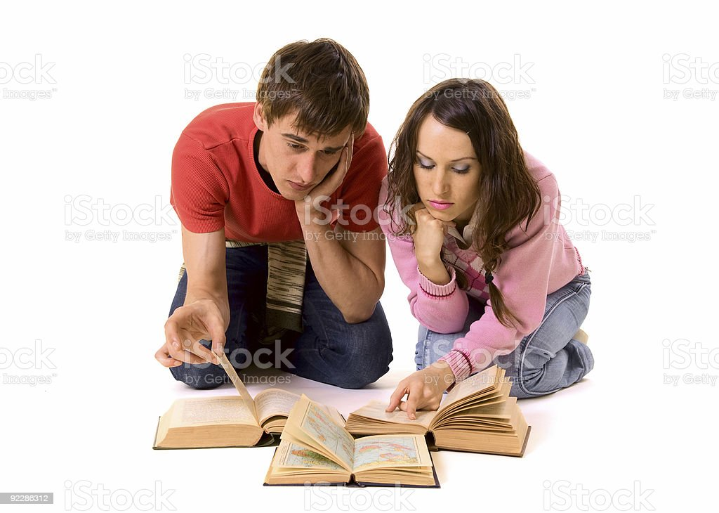 couple of students doing homework royalty-free stock photo