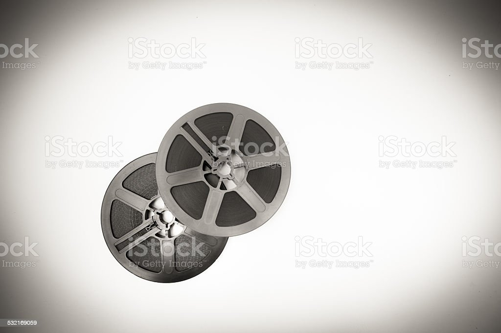 Couple of super 8mm reels in black and white stock photo