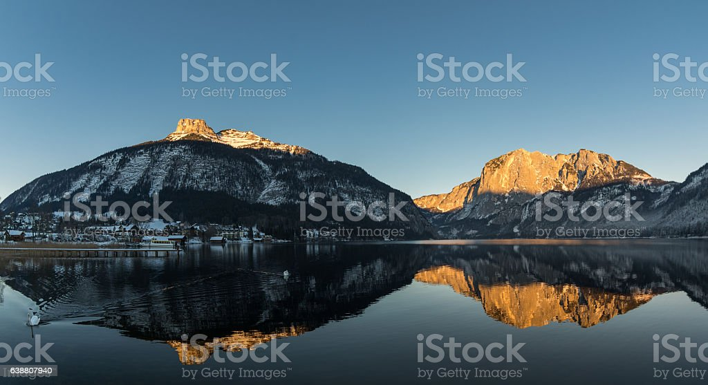 Couple of swans at Lake Altaussee, Austria stock photo