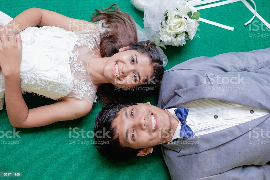 couple of thai young adult portrait stock photo