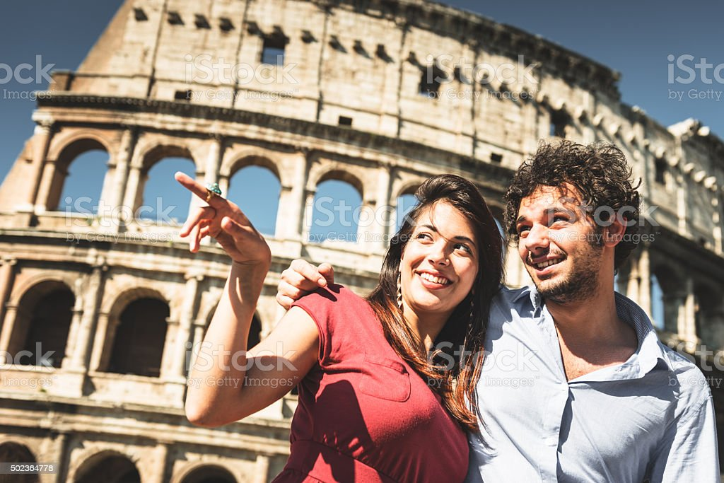 couple of tourist in rome enjoy the vacation stock photo