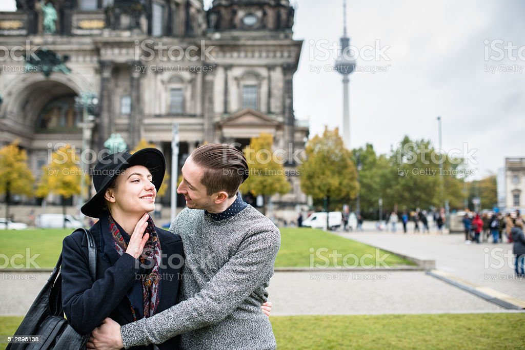 Couple of tourist on vacation in Berlin under the dome stock photo
