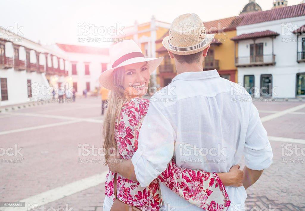 Couple of tourists in Cartagena stock photo