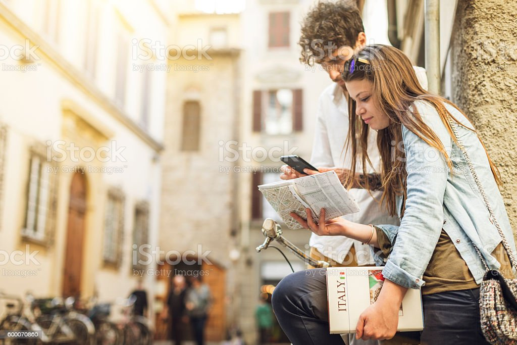Couple of tourists in Florence, travelling around Italy stock photo