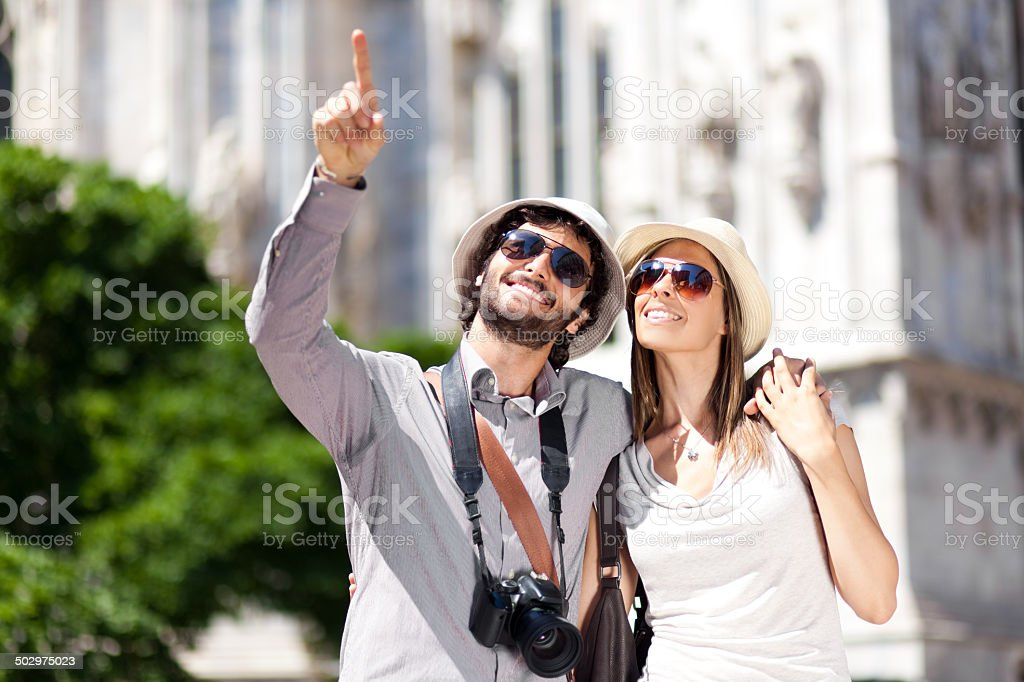 Couple of tourists in the city stock photo