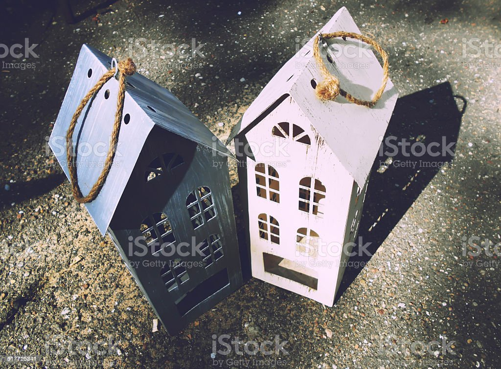 couple of toy wooden houses stock photo