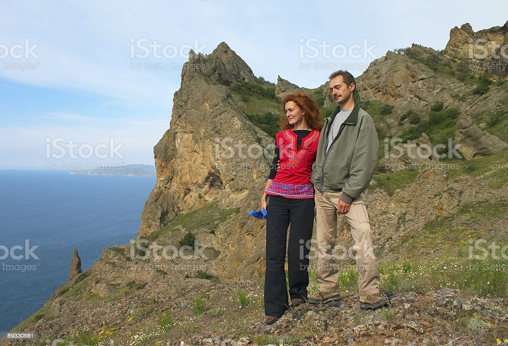 Couple of travellers royalty-free stock photo
