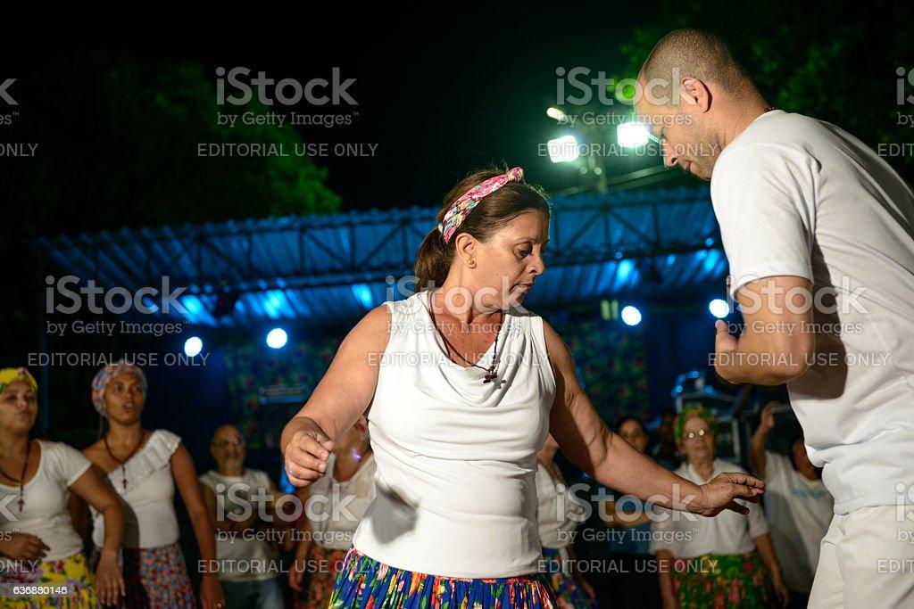 Couple of Umbanda during jongo performance stock photo
