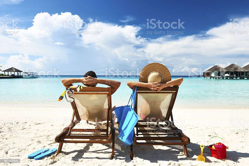 Couple on a beach stock photo
