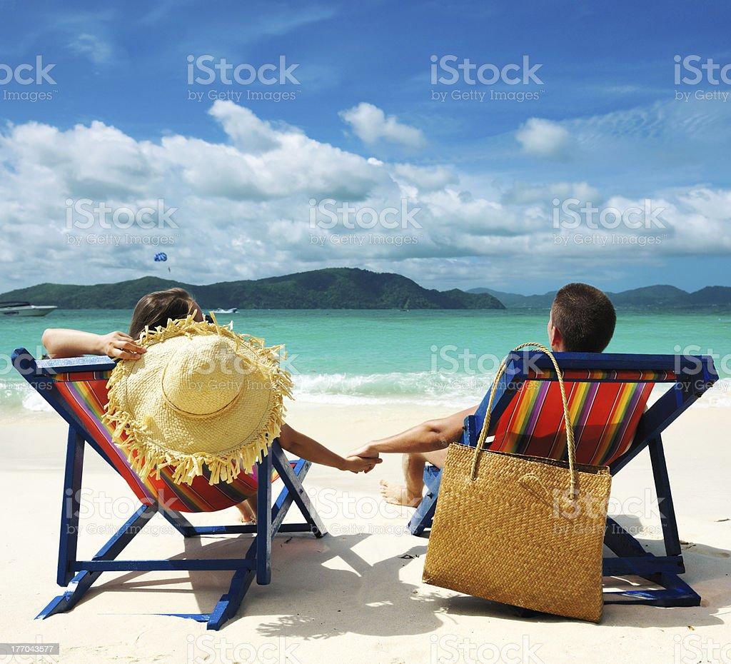 Couple on a beach royalty-free stock photo