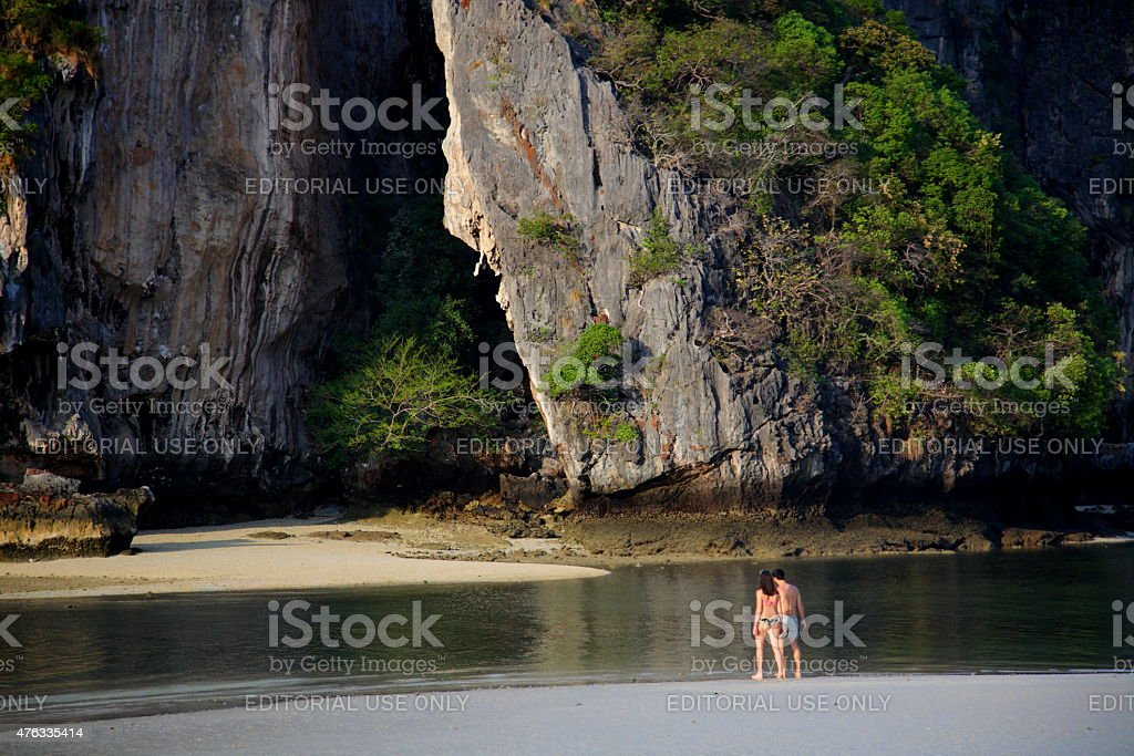 Couple on a beach vacation in Krabi, Thailand stock photo