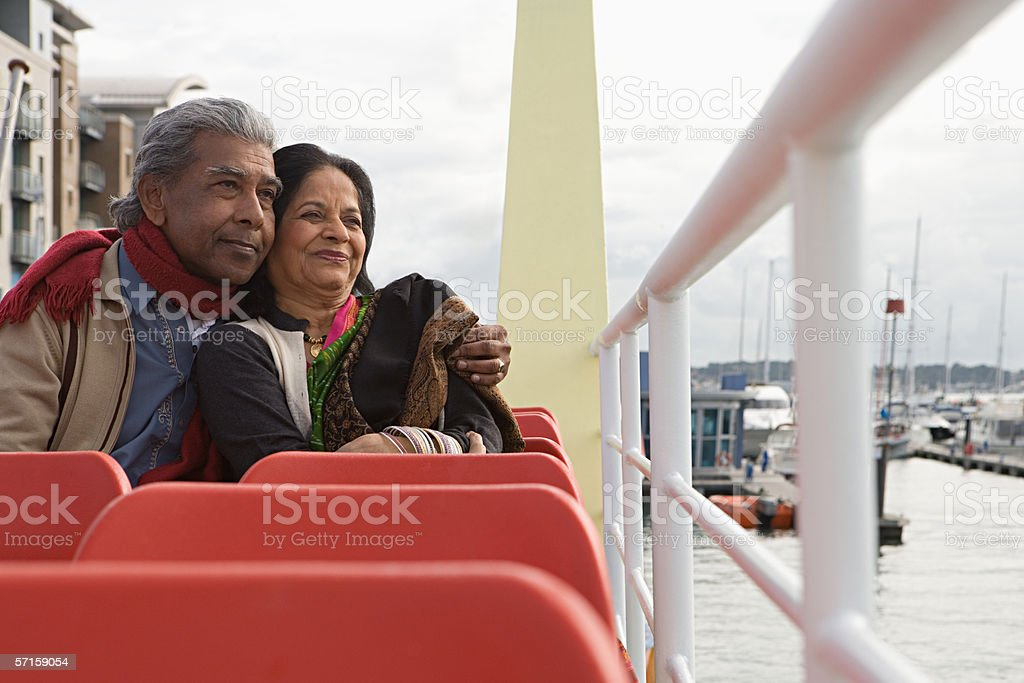 Couple on a boat trip stock photo