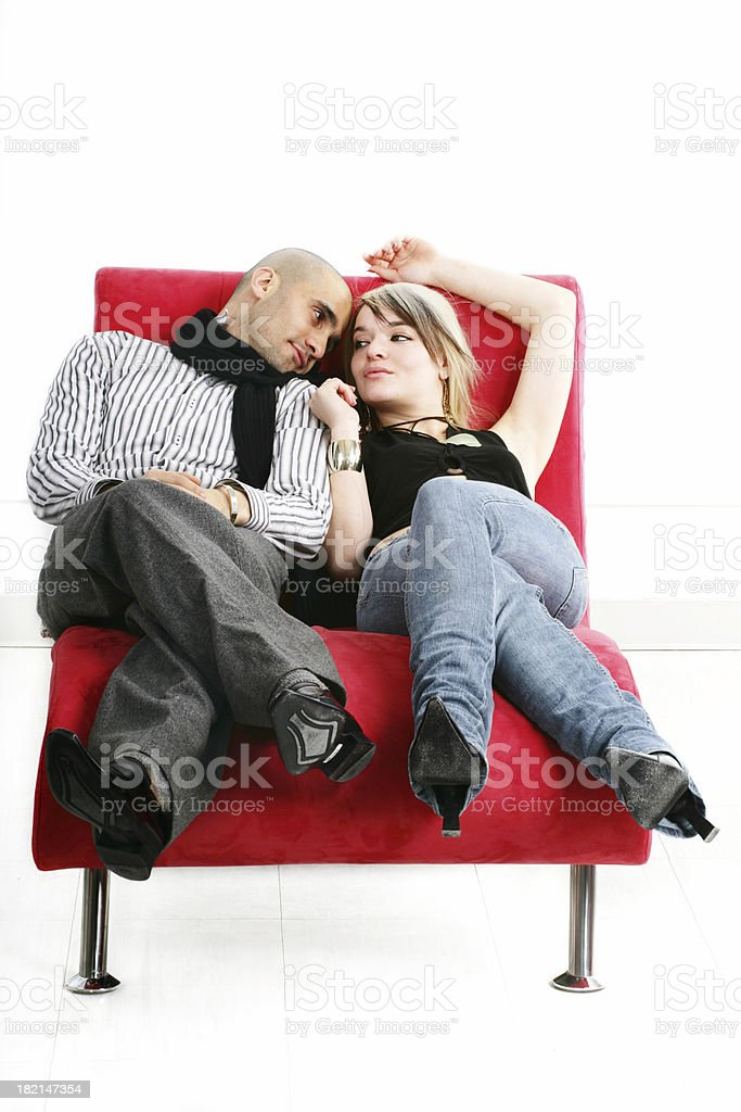 Couple on a couch I royalty-free stock photo
