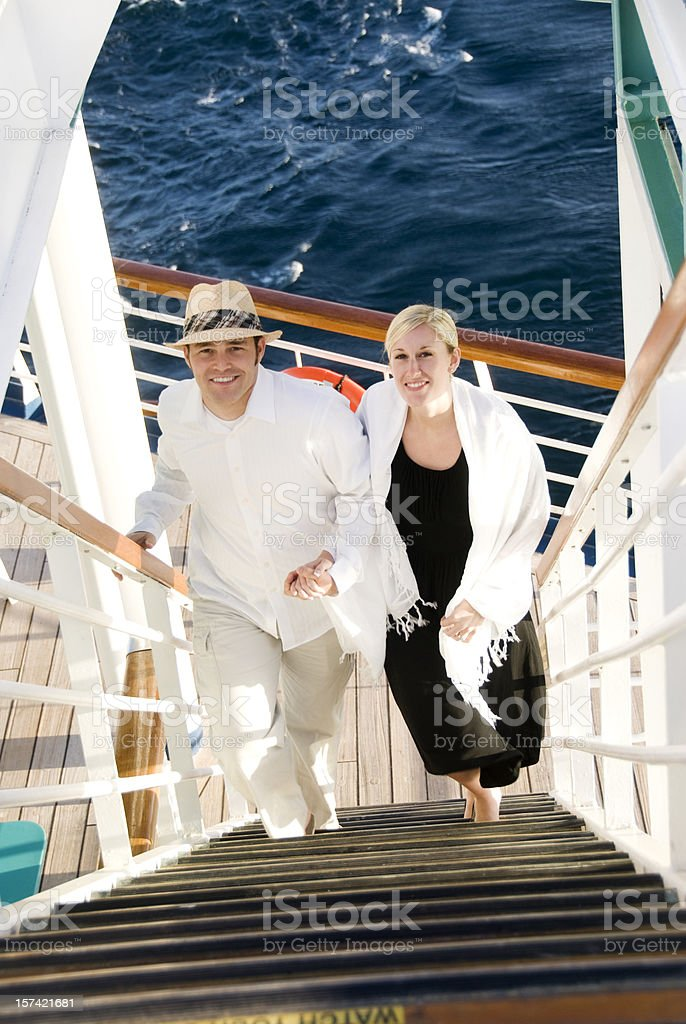 Couple on a cruise ship royalty-free stock photo